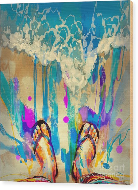 Wood Print featuring the painting Vacation Time by Tithi Luadthong