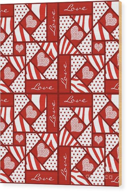 Valentine 4 Square Quilt Block Wood Print