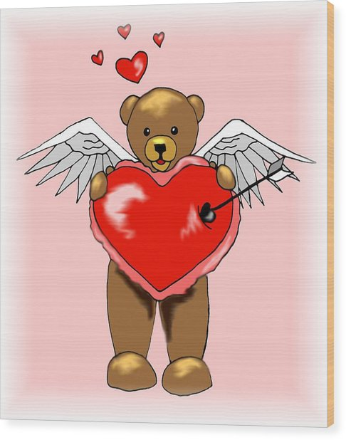 Valentine Bear Wood Print by Scarlett Royal