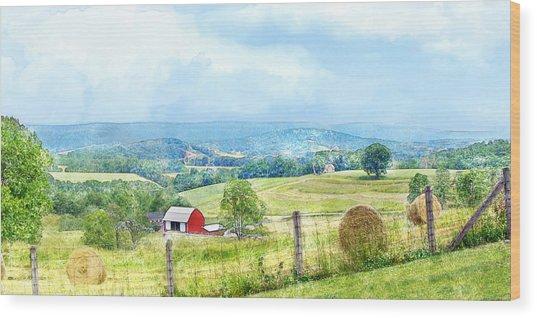 Valley Farm Wood Print