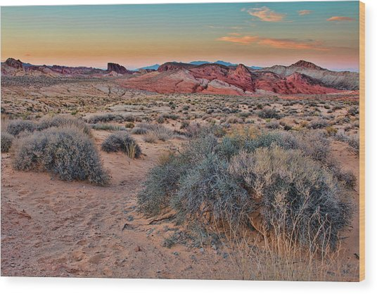 Valley Of Fire Sunset Wood Print