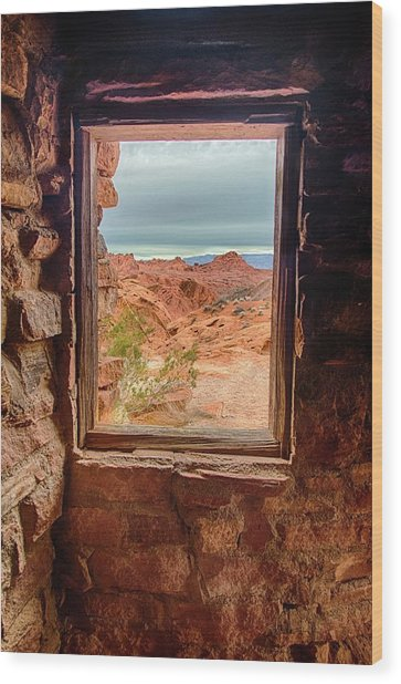 Valley Of Fire Window View Wood Print