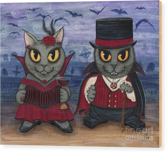 Vampire Cat Couple Wood Print