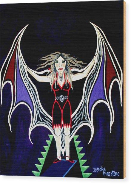 Vampire Lady Of Death Wood Print by Deidre Firestone