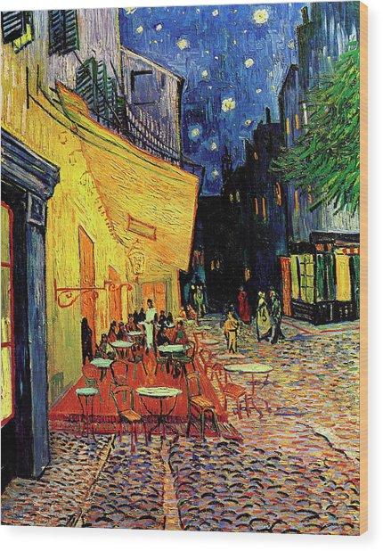 Van Gogh Cafe Terrace Place Du Forum At Night Wood Print