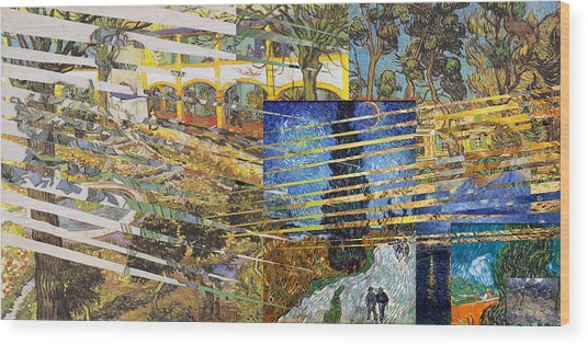 Wood Print featuring the digital art Van Gogh Mural Il by David Bridburg