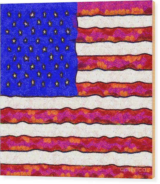 Van Gogh.s Starry American Flag . Square Wood Print by Wingsdomain Art and Photography