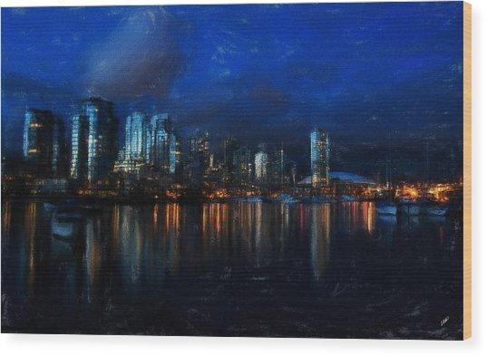 Vancouver At Dusk Wood Print