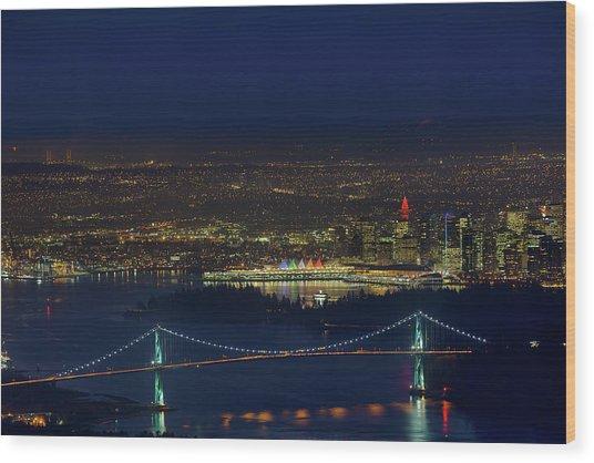 Vancouver Bc Cityscape By Lions Gate Bridge Wood Print