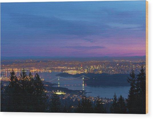 Vancouver Bc Cityscape Lions Gate Bridge Sunset Wood Print