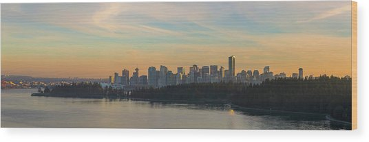 Vancouver Bc Skyline Along Stanley Park At Sunset Wood Print