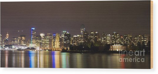 Vancouver By Night Wood Print