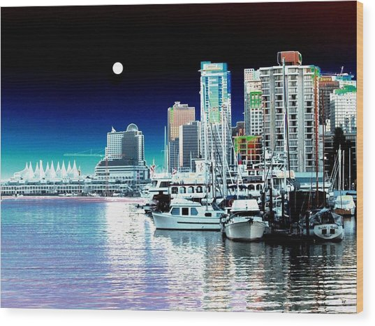 Vancouver Harbor Moonrise  Wood Print
