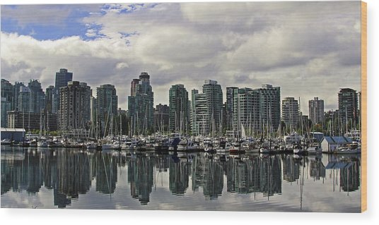 Vancouver Marina Wood Print by Walter Fahmy