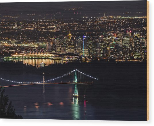 Vancouver Night From Cypress Mountain Wood Print