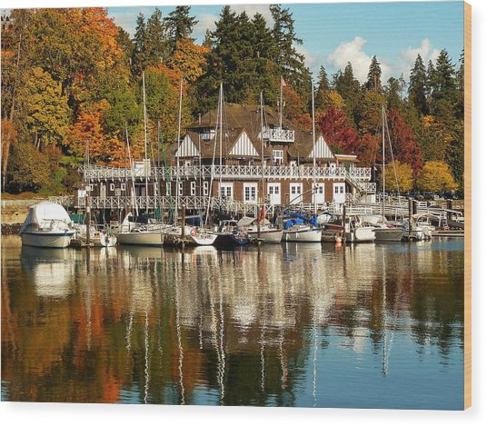 Vancouver Rowing Club In Autumn Wood Print
