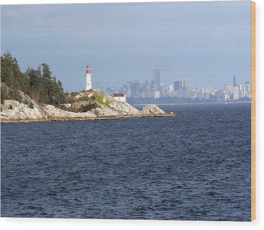 Vancouver Skyline With Lighthouse Wood Print