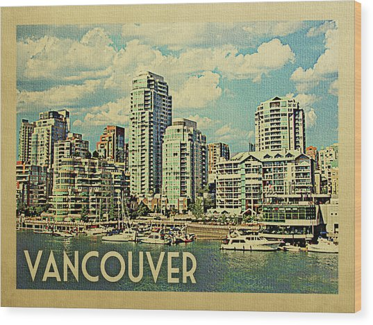 Vancouver Travel Poster Wood Print by Flo Karp