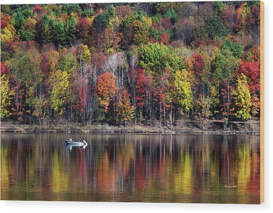 Vanishing Autumn Reflection Landscape Wood Print