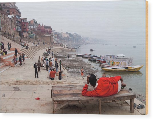 Varanasi Ghat View, Varanasi, India Wood Print