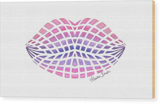 Vasarely Style Lips Wood Print