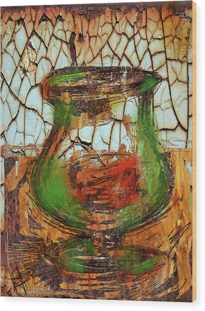 Vase And Candle Wood Print by Russell Pierce