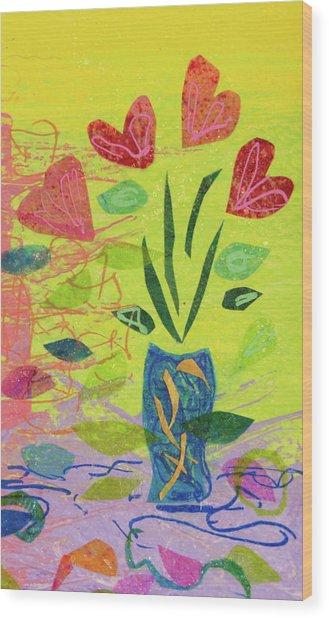 Vase Full Of Love Wood Print