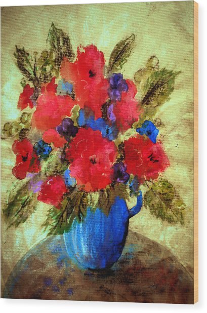Wood Print featuring the painting Vase Of Delight-still Life Painting By V.kelly by Valerie Anne Kelly