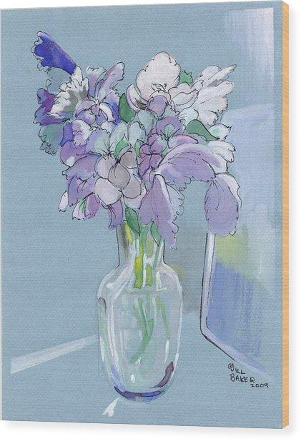 Vase Of Flowers In The Sun Wood Print by Jill Baker