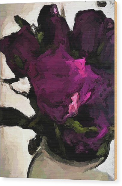 Vase Of Roses With Shadows 1 Wood Print
