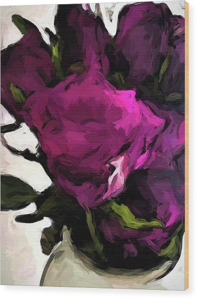 Vase Of Roses With Shadows 2 Wood Print