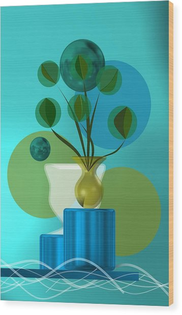 Vase With Bouquet Over Blue Wood Print
