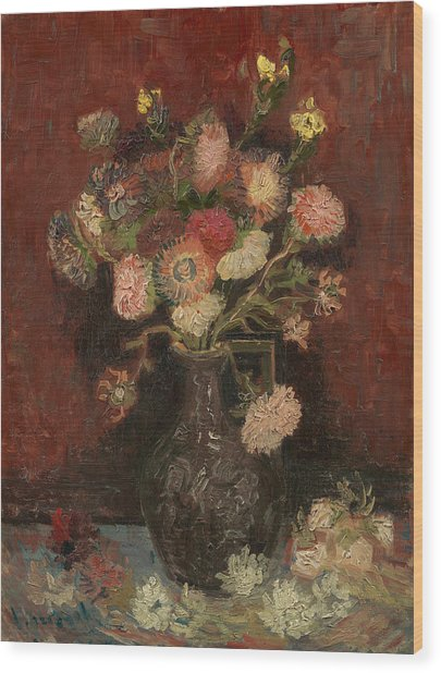 Vase With Chinese Asters And Gladioli Wood Print