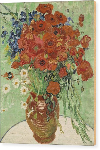 Wood Print featuring the painting Vase With Daisies And Poppies by Van Gogh