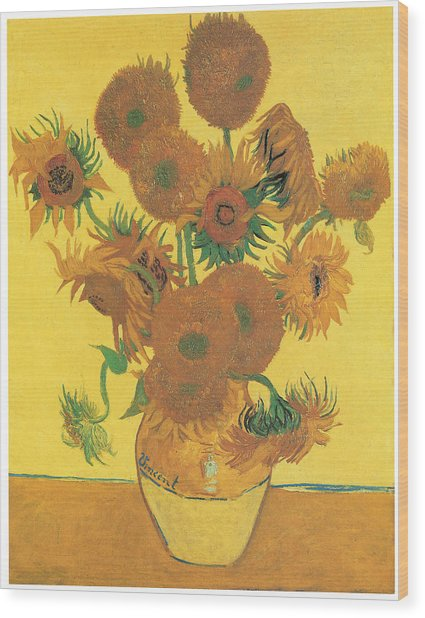 Vase With Fifteen Sunflowers Wood Print