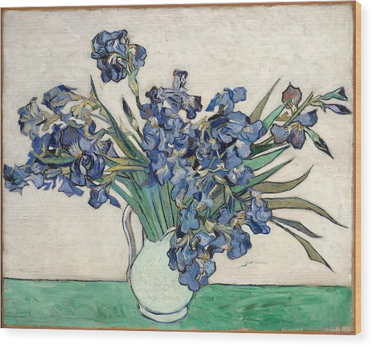 Wood Print featuring the painting Vase With Irises by Van Gogh