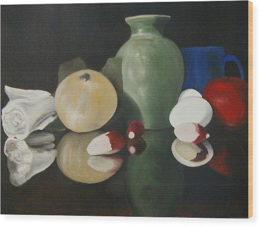 Vase With Radishes Wood Print