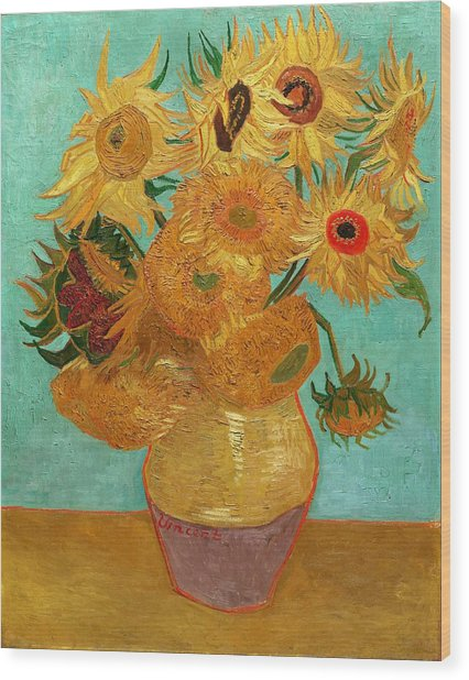 Wood Print featuring the painting Vase With Twelve Sunflowers by Van Gogh