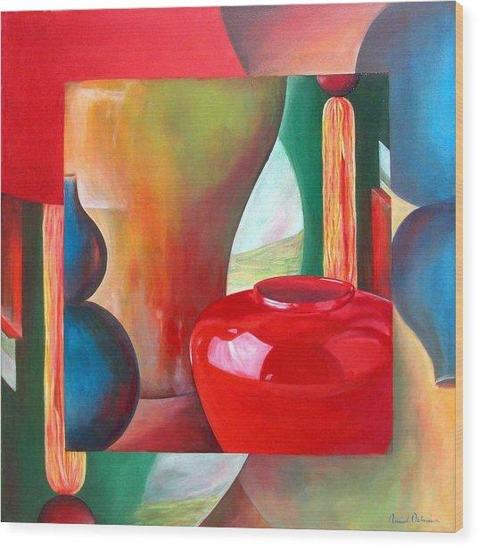 Vases Wood Print by Muriel Dolemieux