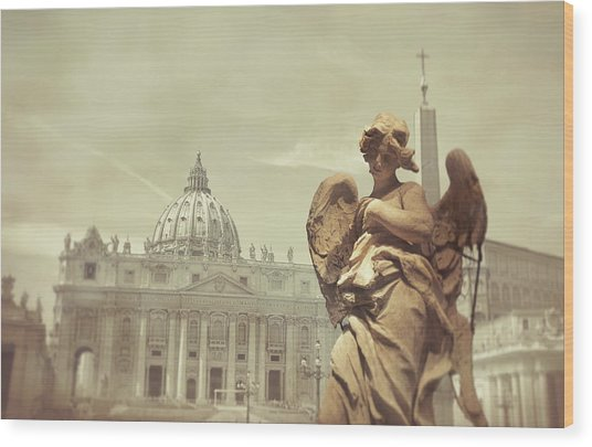 Vatican Angel Wood Print by JAMART Photography