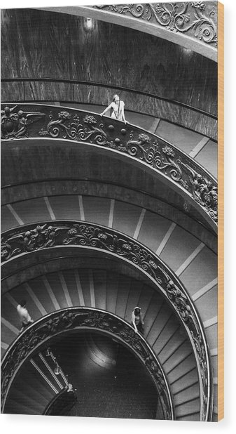 Wood Print featuring the digital art Vatican Stairs by Julian Perry