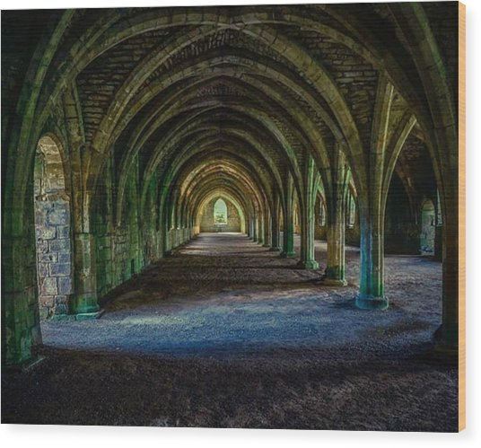 Vaulted, Fountains Abbey, Yorkshire, United Kingdom Wood Print
