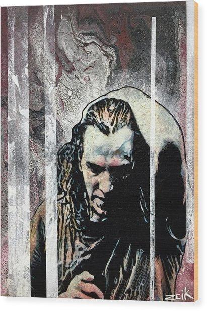 Vedder - Black Wood Print by Bobby Zeik
