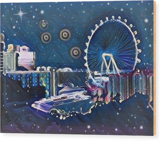 Vegas High Rollin Starry Nite Wood Print