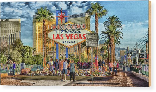 Wood Print featuring the photograph Vegasstrong by Michael Rogers