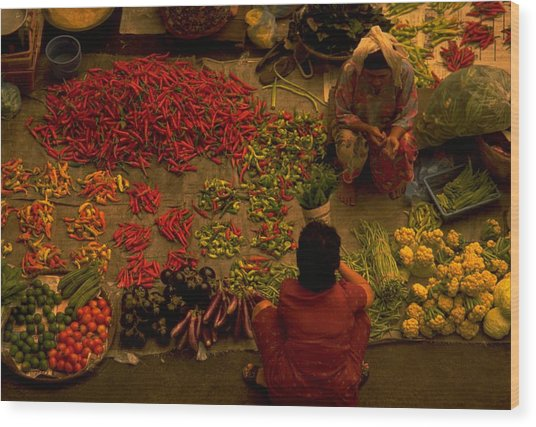 Vegetable Market In Malaysia Wood Print