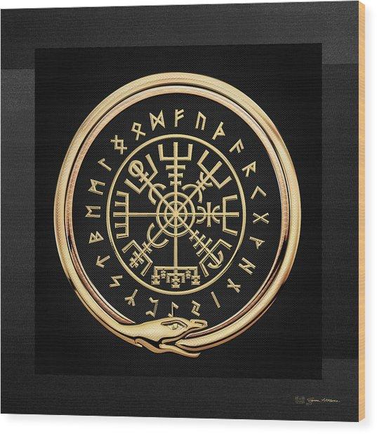 Vegvisir - A Magic Icelandic Viking Runic Compass - Gold On Black Wood Print