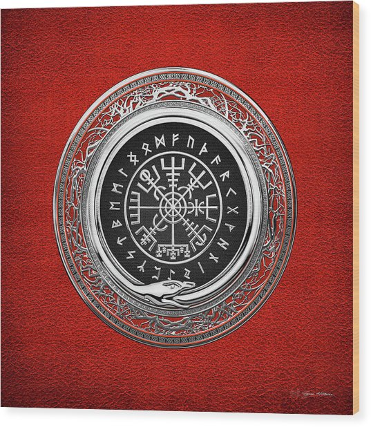 Vegvisir - A Silver Magic Viking Runic Compass On Red Leather  Wood Print