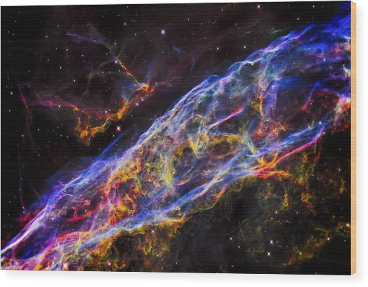 Veil Nebula - Rainbow Supernova  Wood Print