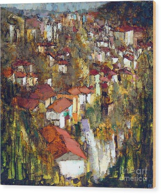 Veliko Tarnovo - Panorama Wood Print by Michael Stoyanov